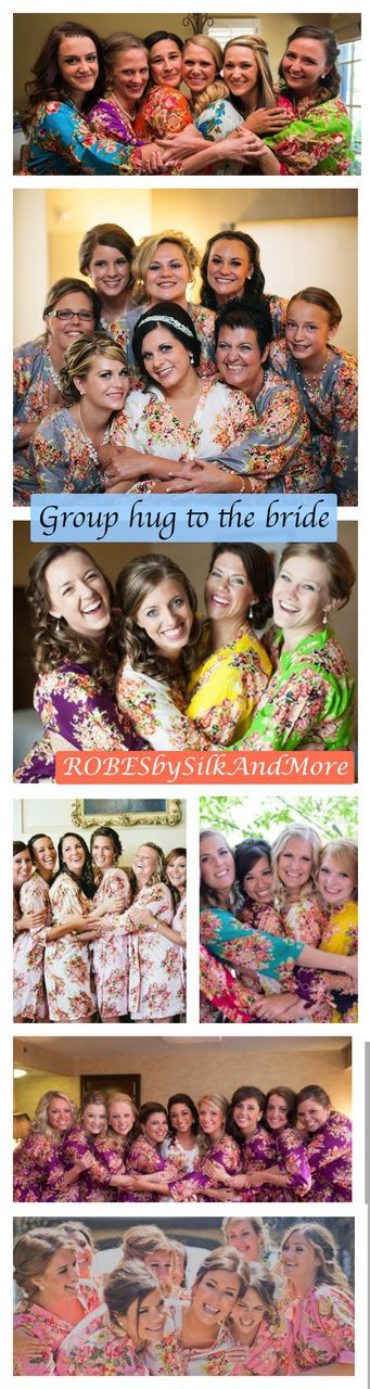 Group hug to the bride - Bridesmaids Getting Ready Poses - Robes by silkandmore - Mismatched Pastel Shabby Chic Floral Posy Robes, $25 (http://robesbysilkandmore.com/mismatched-pastel-shabby-chic-floral-posy-robes/)