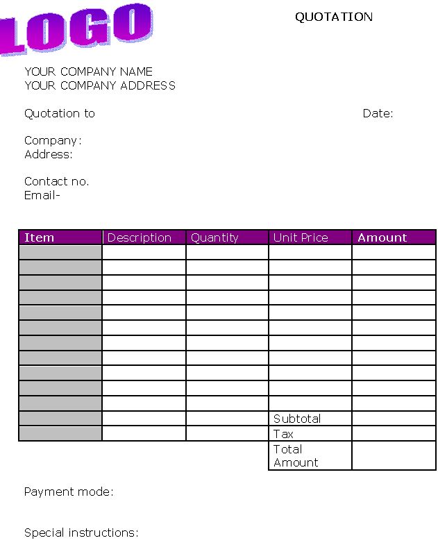 Free Invoice Templates Educate\/ Art Projects Pinterest - price quotation