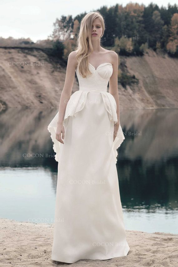 Designer Wedding Mikado Dress with corded lace par CoconBridal