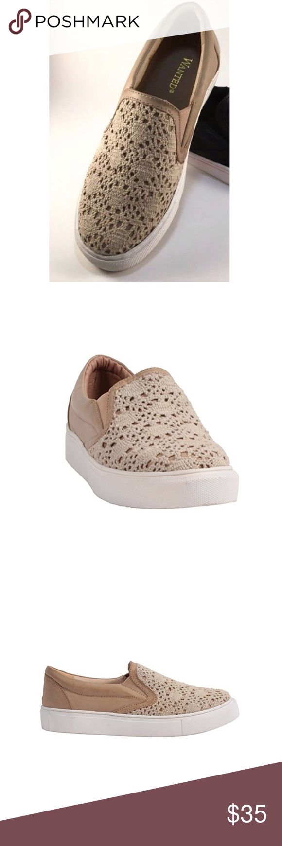 Nude Crochet Lace Slip On Espadrilles Lace nude slip on sneaker features: a macramé upper. These sneakers are a perfect shoe, for a multi-seasonal vibe that flatters every woman. Pair these sneakers up with jeans for a more casual look, dress pants for a smart casual look or if you're looking for a flirty and girly look, put on a skater skirt or flowy dress. Boutique Shoes Sneakers