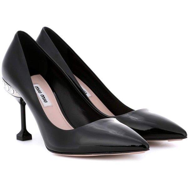 Miu Miu Patent Leather Pumps ($905) ❤ liked on Polyvore featuring shoes, pumps, black, patent leather pumps, black pumps, black patent leather shoes, miu miu and miu miu pumps
