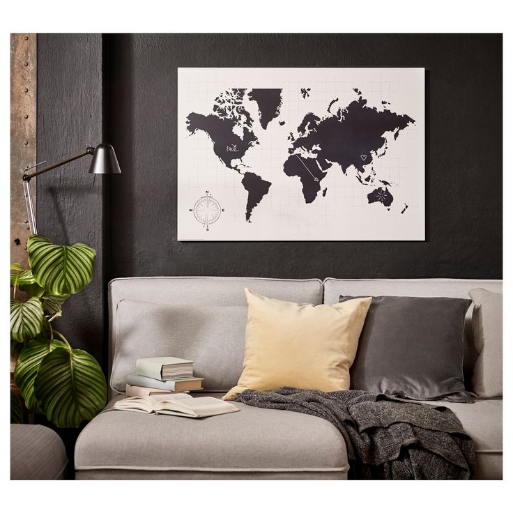 Ideal IKEA M LLTORP Chalkboard organizer Motif created by Archie Stone This world map is both a decorative picture and a handy blackboard for planning your
