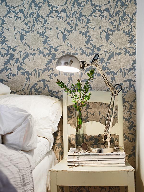 Fin fondtapet sovrum från William Morris | http://www.stadshem.se/ViewAllImages.aspx?gid=OBJ24162_1247532374