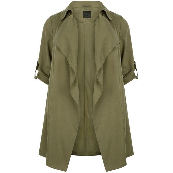 New Look Plus Size Khaki Waterfall Trench Coat (£25) ❤ liked on Polyvore featuring outerwear, coats, jackets, casacos, khaki, longline coat, plus size trench coat, waterfall trench coat, khaki trench coat and waterfall coats