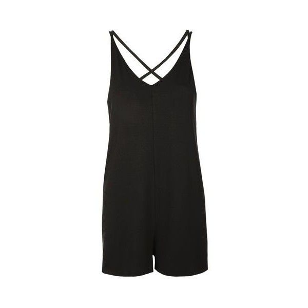 TopShop Cross-Strap Romper Playsuit ($26) ❤ liked on Polyvore featuring jumpsuits, rompers, black, topshop romper, v neck romper, playsuit romper, topshop and topshop rompers
