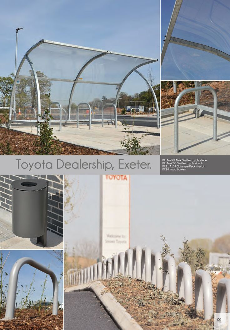 Toyota Dealership Exeter   Street Furniture   Cycle Shelter, Cycle Stands, Litter Bins & Hoop Barriers