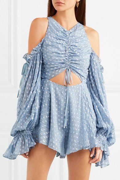 91ea351b5606 ALICE MCCALL Did It Again fabulous cutout gathered blue flocked georgette  playsuit