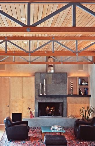 portland sequoia house by david wilson i like the fireplace minus the wood cabinets