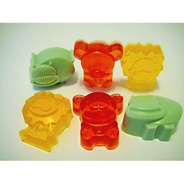 Teddy Bear Hippopotamus Lion Animals glycerine kids mini soaps set of 6  These funny animal shapes (lion, hippo, teddy bear) glycerine mini kids soaps will encourage children to wash their hands more often and thoroughly promoting good health! Great mini soap favors for kids party favors, baby showers or christmas stocking.