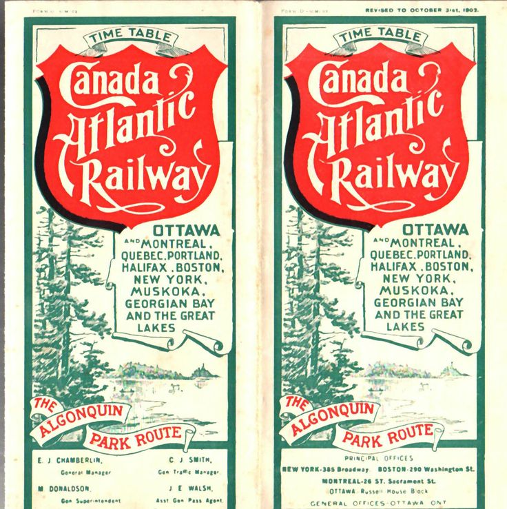 "Public timetable from the Canada Atlantic Railway  - the ""Algonquin Park Route"", dated Oct 1902"