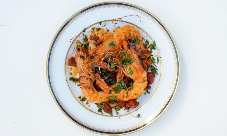 Nuno Mendes' late summer recipes: chicory salad, chicken with piso and garlic prawns