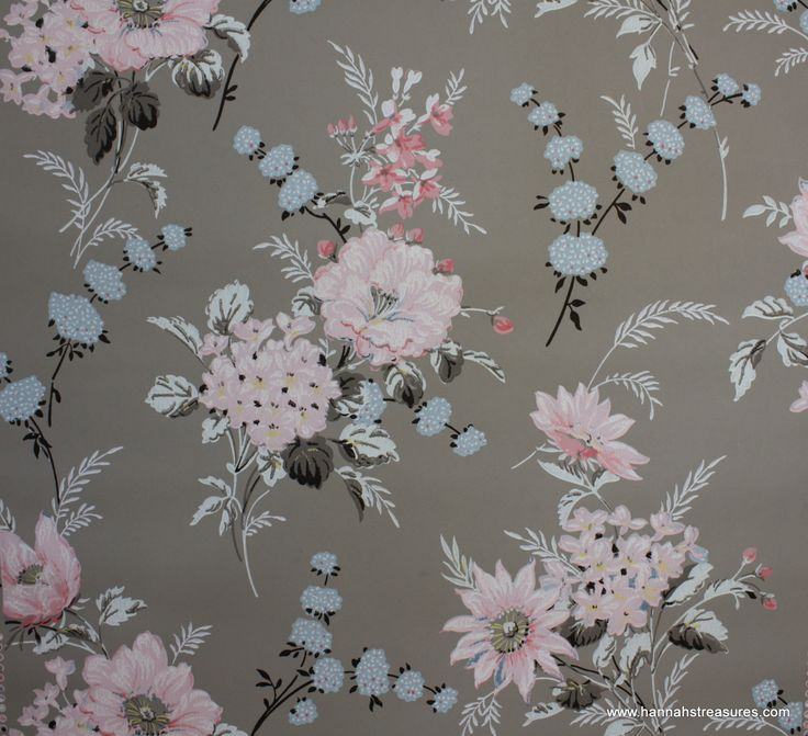 1940 39 s vintage wallpaper floral wallpaper with large for Red and grey wallpaper for walls