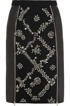 Preen by Thornton Bregazzi Dotty embellished wool-crepe and leather skirt | NET-A-PORTER