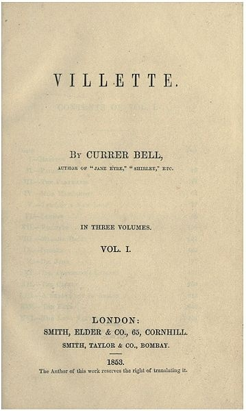 Villette by Charlotte Brontë, published in 1853