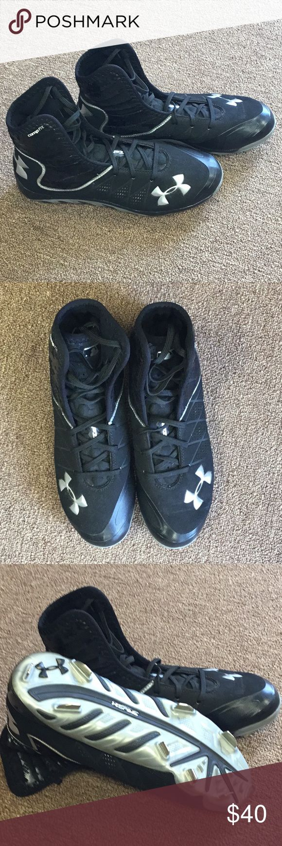 Under Armour Cleats and spikes shoes Under Armour brand cleats. Metal cleats, high tops, Spine label on bottom, compfit. Under Armour Shoes Athletic Shoes