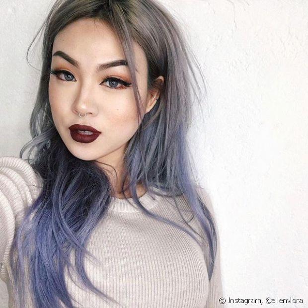 Resultado de imagen de pelo gris puntas moradas