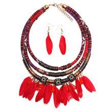 4 cores de penas colar boemia artesanal tecer corda cadeia gargantilha declaração de colares 2016 mulheres colar acessórios talão(China (Mainland))