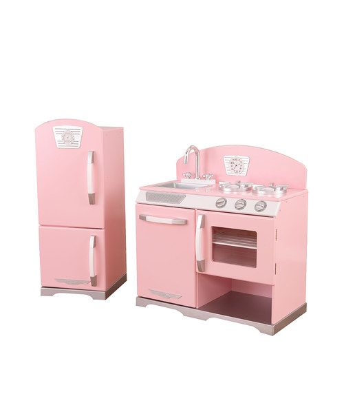 pink stove refrigerator retro kitchen set