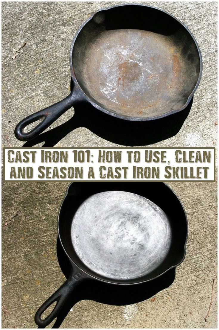 Cast Iron 101: How to Use, Clean and Season a Cast Iron Skillet - Cast iron pots and pans cook evenly, efficiently and best off all, use less fatty oils that regular pans. So that alone makes foods healthier. Don't throw out your rusty old cast iron pans! See how to bring them back to life!