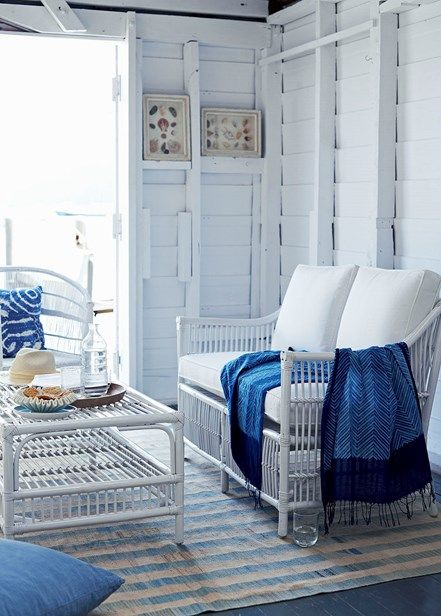 Get a beach shack vibe with cane or rattan furniture that speaks to summer living, complemented by well-padded cushions and throws for softness | Home Beautiful Magazine Australia