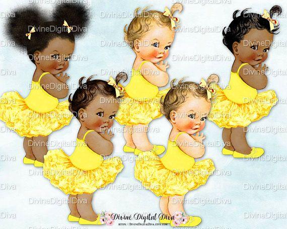 Ballerina Yellow Tutu Vintage Baby Girl 3 Skin Tones