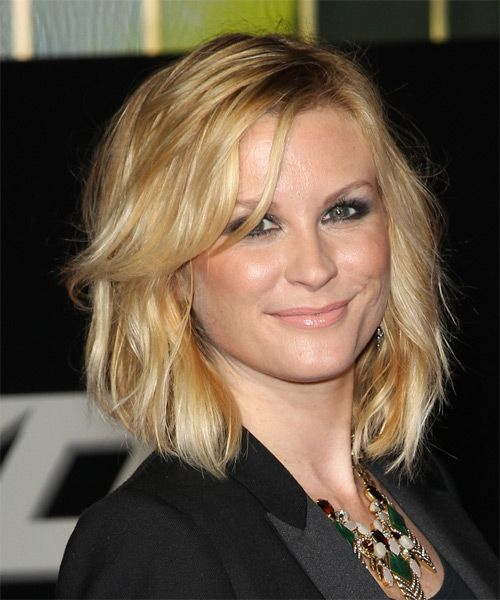 Bonnie Somerville Hairstyle - Medium Wavy Casual - Medium Blonde. Click on the image to try on this hairstyle and view styling steps!