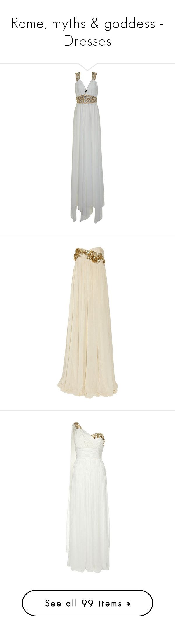 """Rome, myths & goddess - Dresses"" by ljdia ❤ liked on Polyvore featuring dresses, gowns, long dresses, formal dresses, vestidos, prom dresses, gold formal gown, formal evening gowns, formal gowns and maxi dresses"