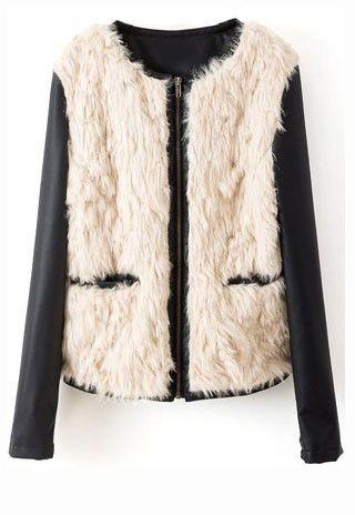 Beige Contrast PU Leather Long Sleeve Fur Outerwear #MYTRENDTWOWARDROBE
