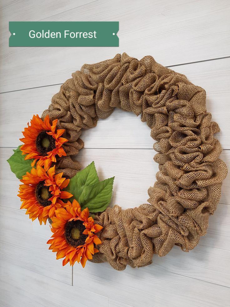 Fall Burlap Wreath  #goldenforrest #goldenforrestcreation #sunflower #orange #burlap #burlapwreath #wreath #fall #doordecor #flowers