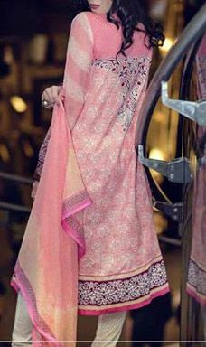 Buy Pink Embroidered Cotton Lawn Dress by Ittehad-Cleopatra Embroidered Lawn Collection 2015.
