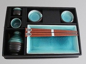 Miya Japan Ceramic Complete Serving Sushi Gift Set For Two   Ocean Blue Miya  Japanese Tableware