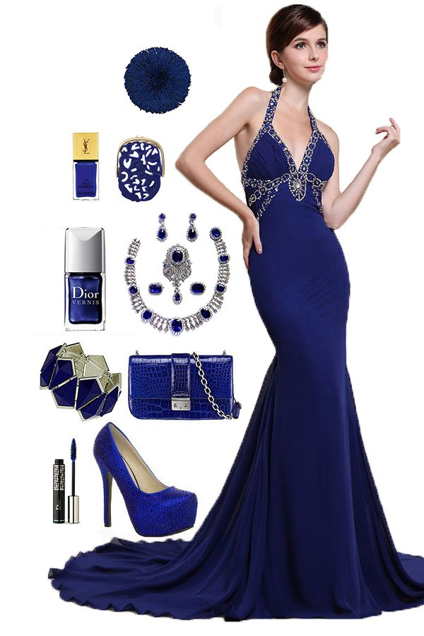 Royal Blue Halter Mermaid Charming Dress .. if u wanna have a look, please clickt to http://www.pinterest.com/