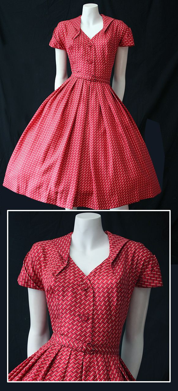 1950s vintage Peck and Peck silky red patterned dress.
