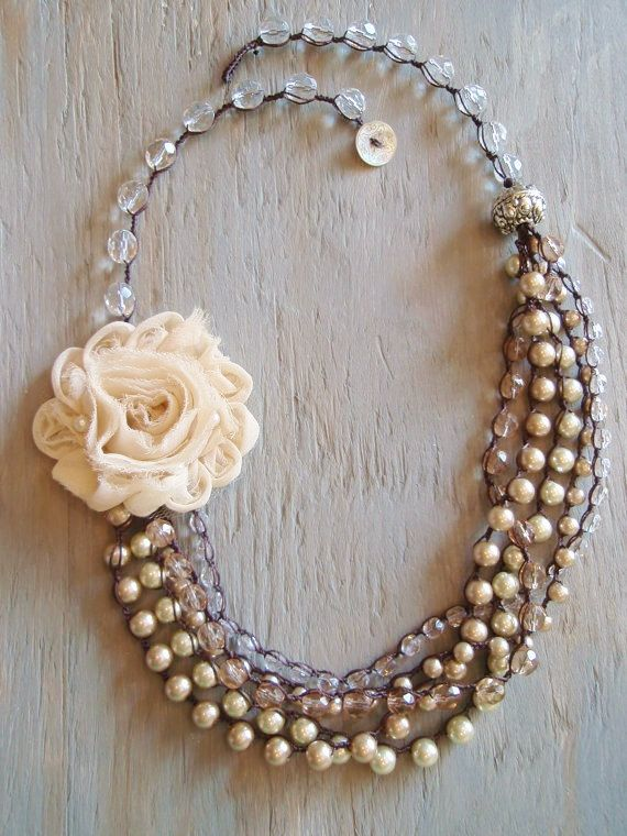 RESERVED for SAM - The Romantic Bohemian - multi layered pearl crocheted statement necklace, Shabby boho bride