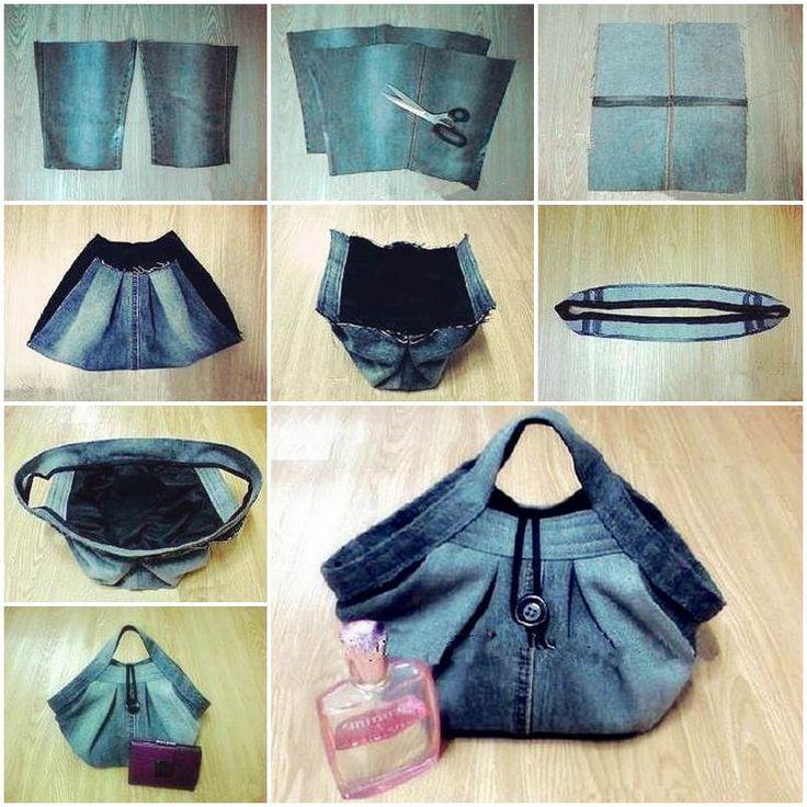 DIY Stylish Handbag from Old Jeans | GoodHomeDIY.com Follow Us on Facebook --> https://www.facebook.com/pages/Good-Home-DIY/438658622943462?ref=hl