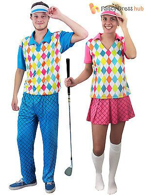 Adult Pub Golf Costume Men Ladies Golfer Fancy Dress Sport Hen Stag Party Outfit
