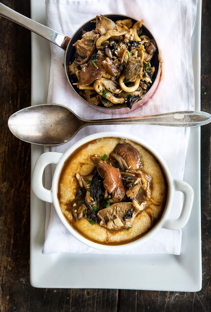 Mushrooms with Amaranth 'Polenta'