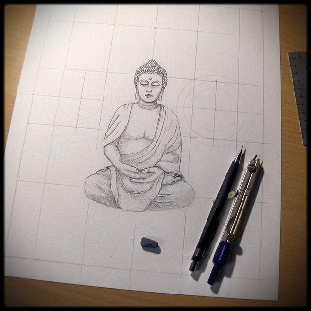 bouddha dessin en cours de cration tape 1