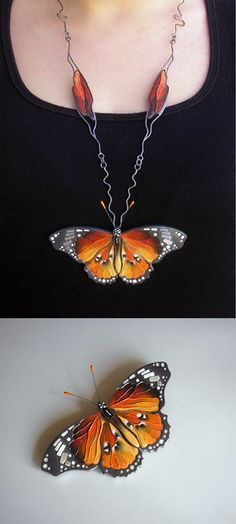 Brooch necklace | Jolanta Bromke. 930 silver and natural leather, hand painted with water and abrasion resistant paint. || The pendant butterfly can be removed and worn separately as a brooch.