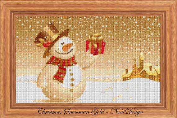Christmas Snowman Gold  cross stitch pattern  PDF by NeniDesign