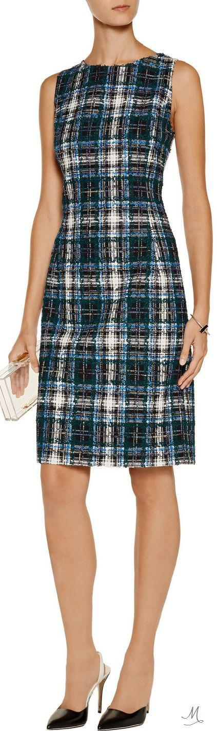 Blue and white sleeveless tweed work dress.