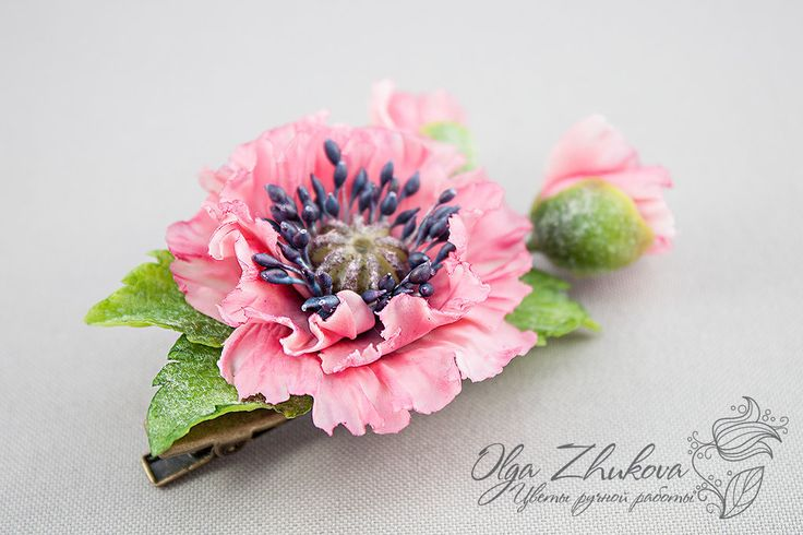 Hair clip with pink poppy by polyflowers on DeviantArt