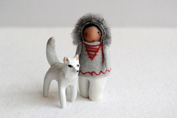 iluq and her arctic fox - limited edition sculpture set by royalmint & handymaiden