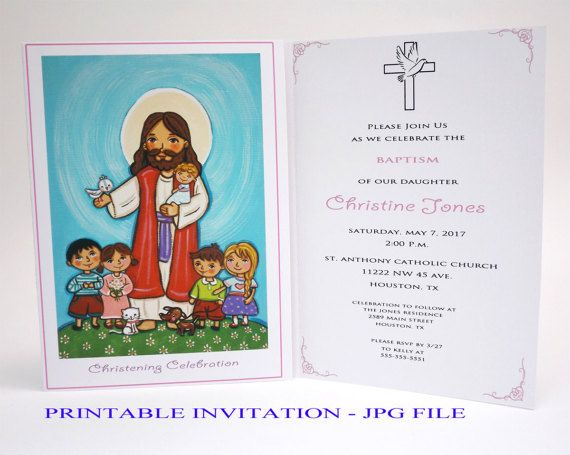 Girl christening invitation Girl baptism invitation girl Jesus Children Baptism invites Christening invites Bautizo invitations Baptism card