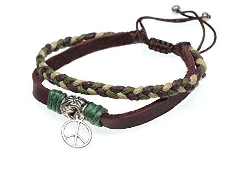 Peace Sign Symbol Charm Leather Zen Bracelet, Fits 5.5 to 8.5 Inches in Gift Box ** Read more reviews of the product by visiting the link on the image.