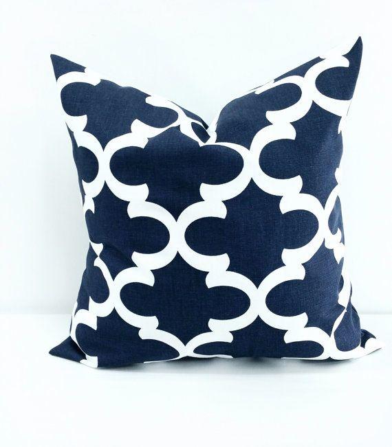 Navy Blue Moroccan Quatrefoil Lattice Trellis Pillow Cover Sham Pillow case.Select your size – couch pillows