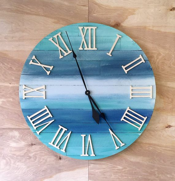 "Large Round Wood Beach Wall Beach Clock - 30"" Homemade Clock Ocean Colors…"
