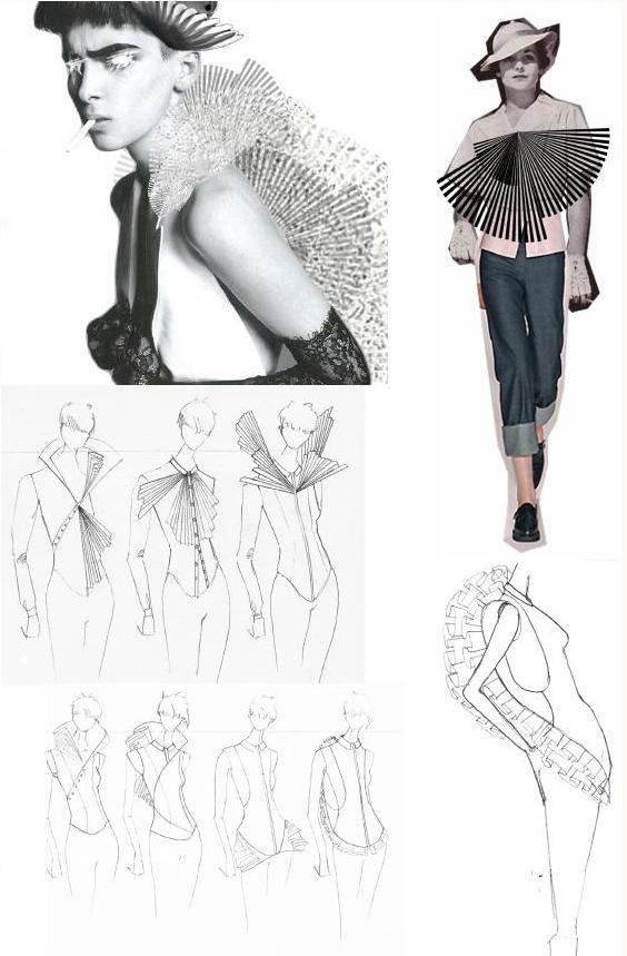 Fashion Sketchbook - fashion sketches & pleating research; fashion portfolio // Julius Arthur
