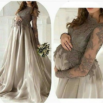 2017 Satin Sheer Maternity Evening Dresses Long Sleeve Appliques Prom Party Gown