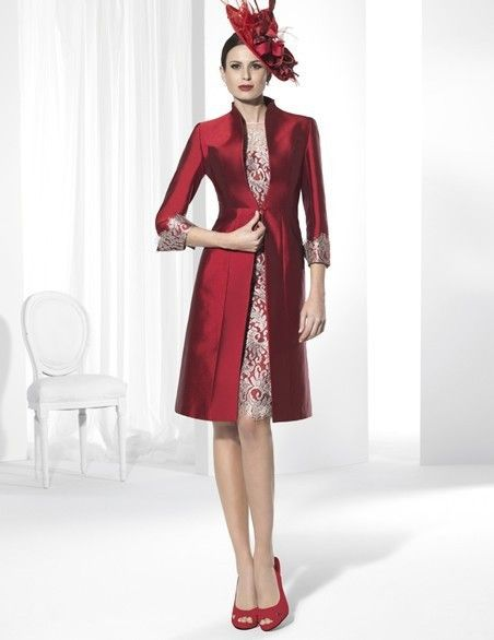 2015-Mother-Of-The-Bride-Dresses-Sheath-High-Collar-Short-Sleeves-Knee-Length-Red-Satin-Lace
